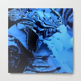 metallic blue distorted Metal Print