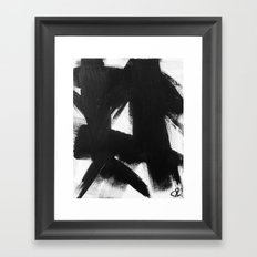 No. 92 - Modern abstract black and white textured painting Framed Art Print