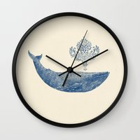 damask Wall Clocks featuring The Damask Whale  by Terry Fan