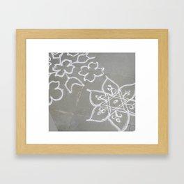 Kolam - white on gray Framed Art Print