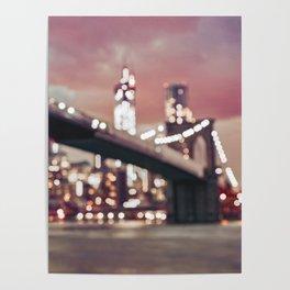 New York City Brooklyn Bridge Lights Poster