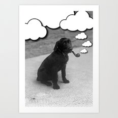 Pipe Puffing Dog Art Print