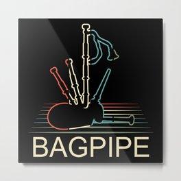 Retro Bagpipe Metal Print
