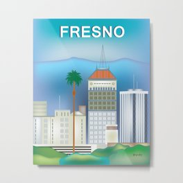 Fresno, California - Skyline Illustration by Loose Petals Metal Print