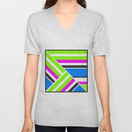Geometric pattern, Striped triangles 3 Unisex V-Neck