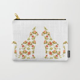 Roses and Peonies Cat Silhouette Carry-All Pouch