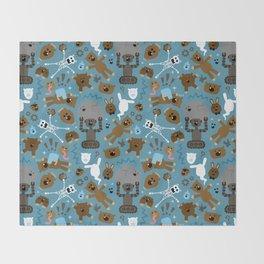 Crazy MonkeyTeddyBears Pattern Throw Blanket
