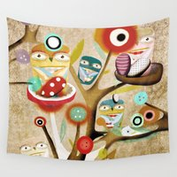 owls Wall Tapestries featuring Owls Owls by Ruth Fitta Schulz