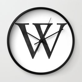 Letter W Initial Monogram Black and White Wall Clock
