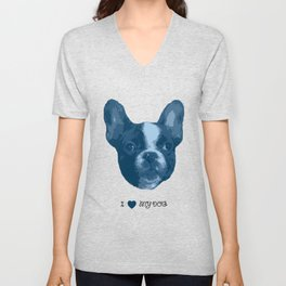 I love my dog - French Bulldog, blue Unisex V-Neck