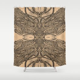 Lines Intra - Fine Line Work in Sepia and Black and Grey Shower Curtain