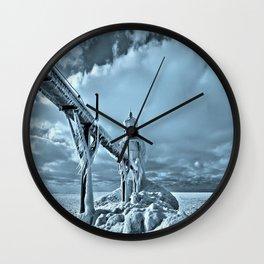 Frozen Lighthouse In Saint Joseph Wall Clock