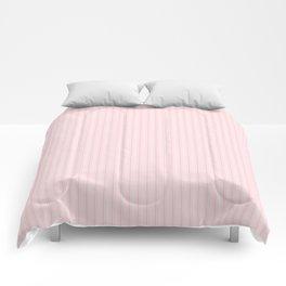 Pale Millennial Pink Pastel Color Mattress Ticking Stripes Comforters