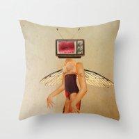 tina Throw Pillows featuring Tina Television by Marko Köppe