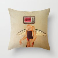 tina fey Throw Pillows featuring Tina Television by Marko Köppe