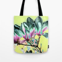 aelwen Tote Bags featuring MAGNOLIA - PopArt by CAPTAINSILVA