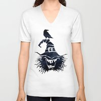 witch V-neck T-shirts featuring witch by Erdogan Ulker