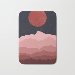 Full moon phase abstract contemporary landscape boho poster gradient colors of mountains Bath Mat