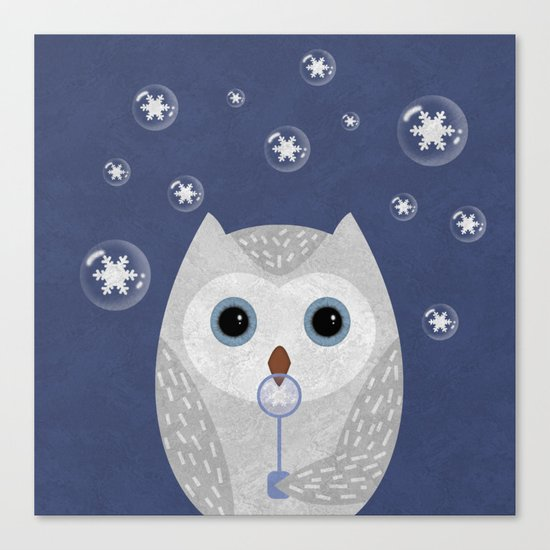 Christmas Owl Blue Marble Canvas Print