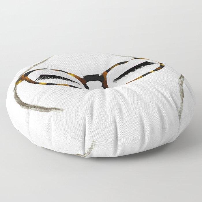 Tortoiseshell Glasses Brunette Floor Pillow