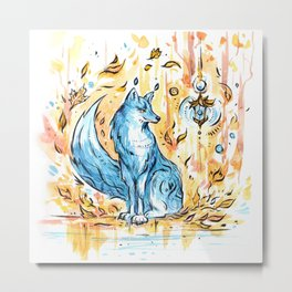 Turquoise fox in the autumn forest with a flashlight ~ watercolor illustration Metal Print