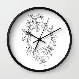 White Floral Circle Wall Clock