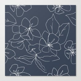 Flowers in Bloom, Drawing in Blue Canvas Print