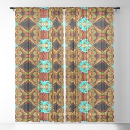 Neon Blue and Gold Spike Fractal Sheer Curtain