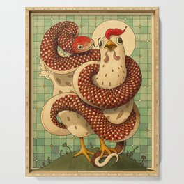 Chicken and the Snake Serving Tray