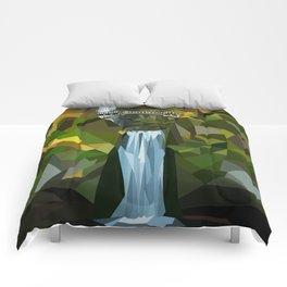 Geometric Multnomah Falls  Comforters