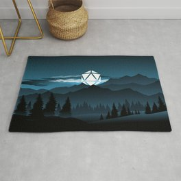 Full Moon Over the Mountains D20 Dice Tabletop RPG Landscape Rug