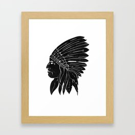Indian Chief / Black Edition Framed Art Print