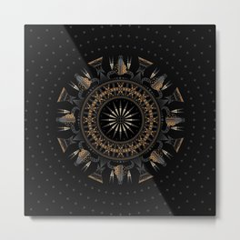 Buffalo Skull and Feathers (Brown) Metal Print