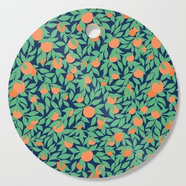 Oranges and Leaves Pattern - Navy Blue Cutting Board