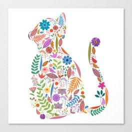 Fancy And Fine Flowered Cat Garden Design Canvas Print