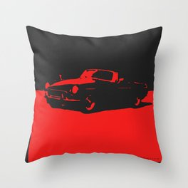 MGB, Red on Black Throw Pillow