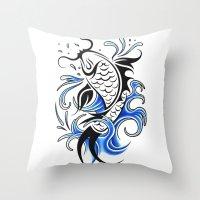 koi fish Throw Pillows featuring Koi Fish  by JonathanStephenHarris