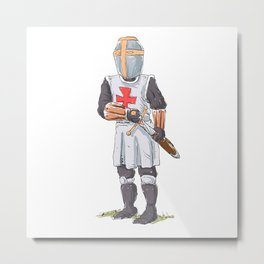 Knight Templar in armour with sword. Metal Print