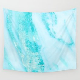 Shimmery Teal Ocean Blue Turquoise Marble Metallic Wall Tapestry
