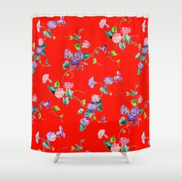 morning glories on red Shower Curtain