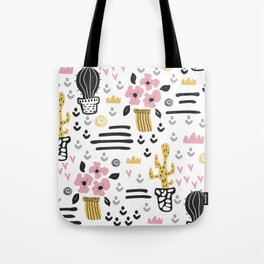 Cute flowers and cactus Tote Bag