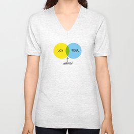 The Venn of Improv (Yellow/Blue) Unisex V-Neck