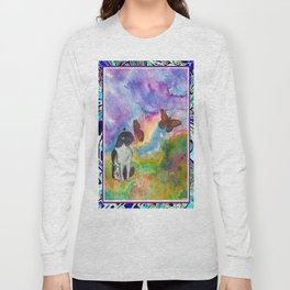 Cat and Monarchs Winged Trim Long Sleeve T-shirt