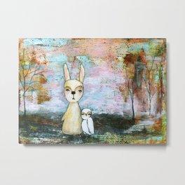 My Best Friend, Rabbit Owl Painting Metal Print
