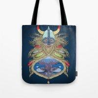 viking Tote Bags featuring Viking by Sally Renshaw