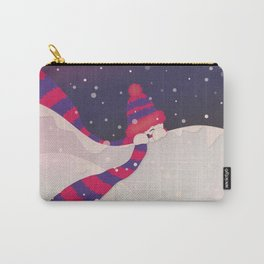 Christmas Peekaboo Snowman II - Blue Violet Snowy Background Carry-All Pouch