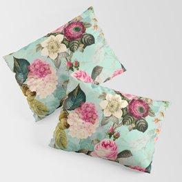 Vintage & Shabby Chic - Summer Teal Roses Flower Garden Pillow Sham