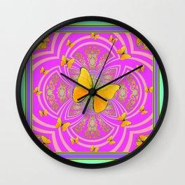 Golden Butterflies Aqua-Purple-Pink-Fuchsia  Patterns Wall Clock