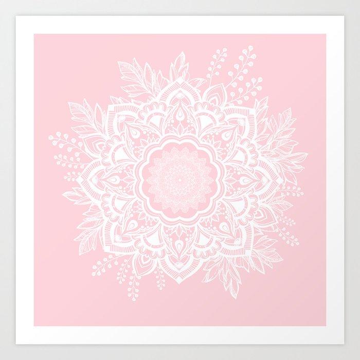 Mandala Bohemian Summer Blush Millennial Pink Floral illustration Art Print