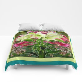PURPLE & WHITE LILIES  TURQUOISE FLORAL MODERN ART Comforters